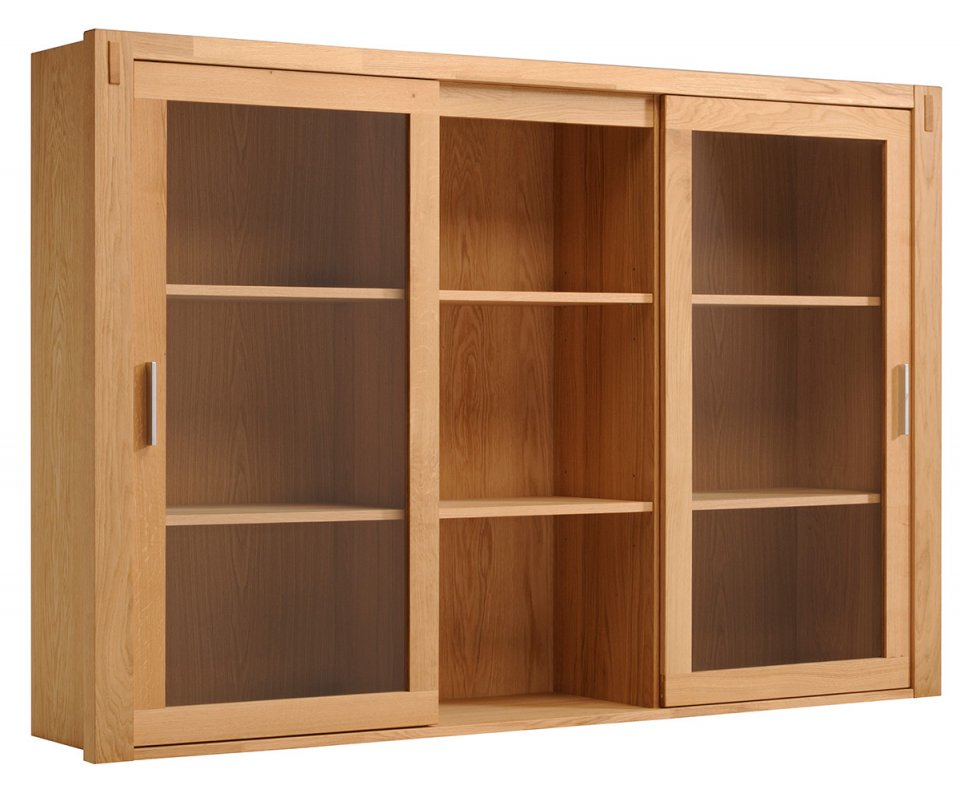 Adam solid oak 2 glass door hutch top with shelves for Solid oak doors