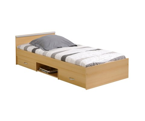 Alpha 2 Drawer Twin Storage Panel Bed (slats and mattress included)
