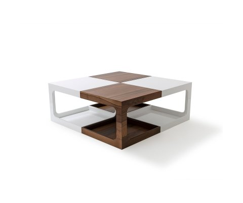 Anemon Modern White and Walnut 4 Piece Coffee Table