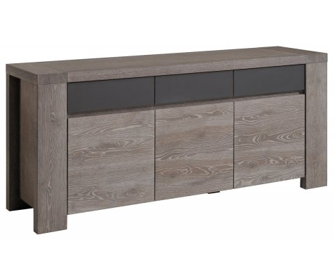 Bristol Gray French Oak Sideboard with 3 Doors