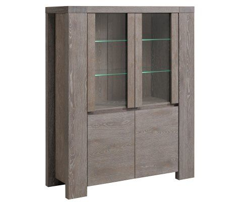 Bristol Gray French Oak Glass Door Storage Cabinet