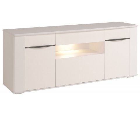 ceram high gloss white buffet with drawers and led - White Buffet