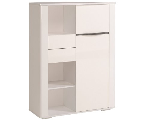 Ceram High Gloss White Credenza Cabinet with Drawers and Doors