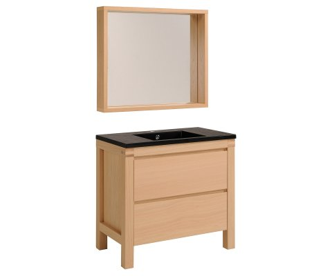 "Erwan 36"" Natural oak 2 pcs Bathroom set with Glass Sink and Mirror"