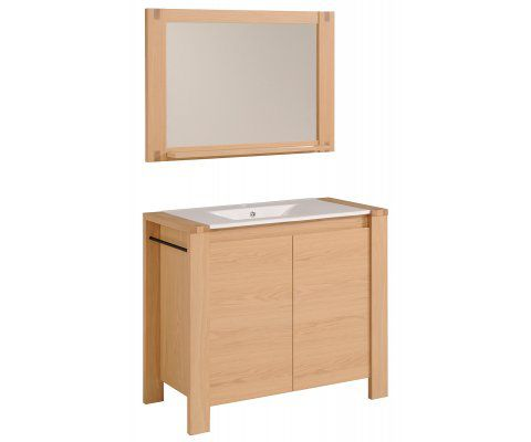 "Etna 40"" Natural oak Bathroom Cabinet Set with Wall Mirror"