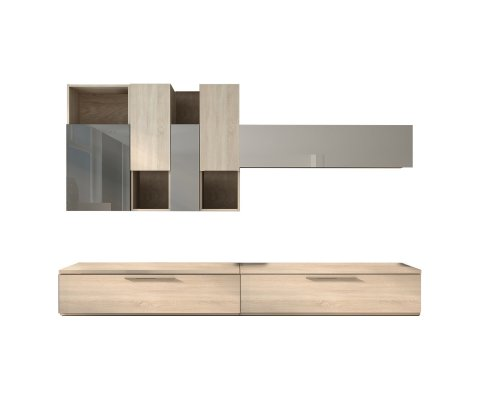Isola TV Wall Unit Oak / Gray