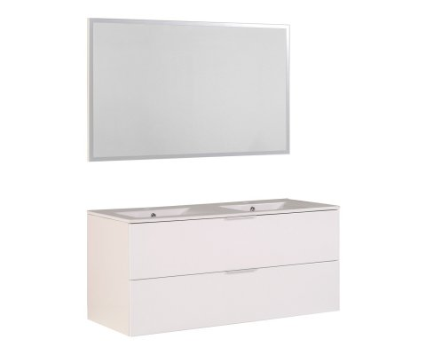 "Luxy 48"" Double Vanity with 2 Ceramic Sinks and Mirror"