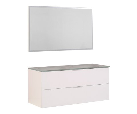 "Luxy 48"" Double Vanity with 2 Glass Sinks and Mirror"