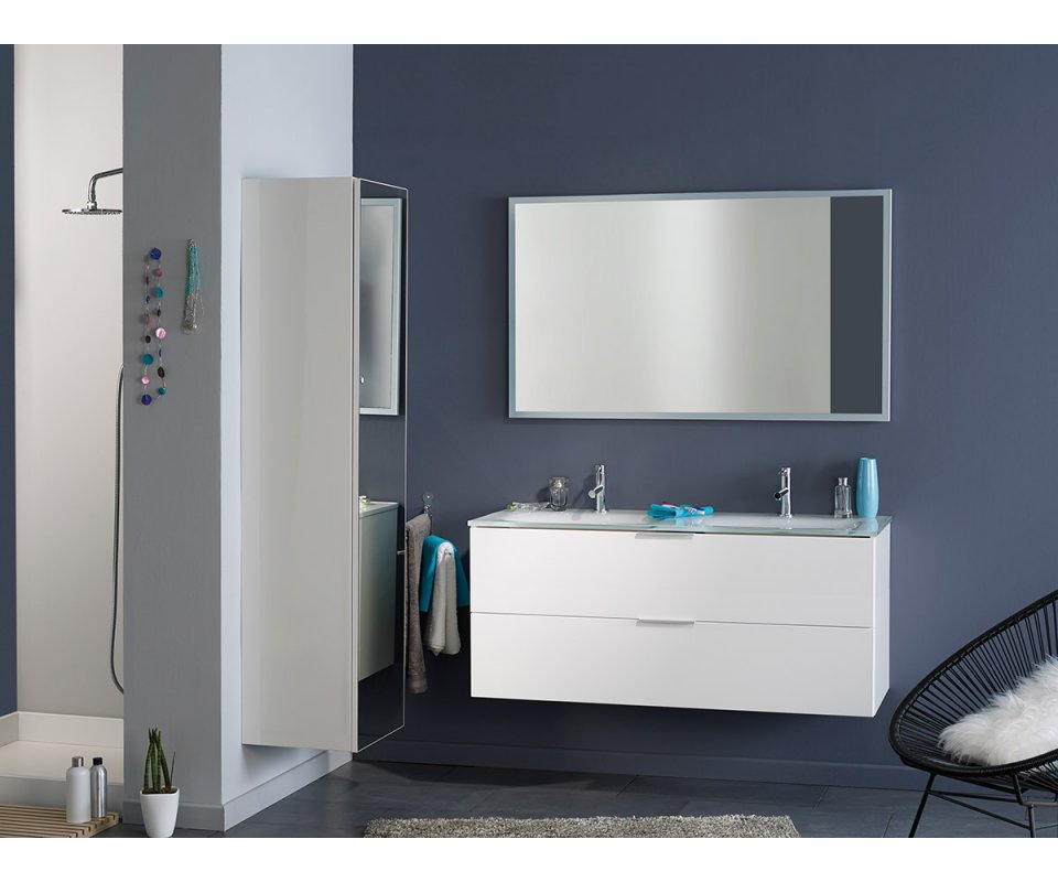 luxy ii high gloss white bathroom 64 tower wall cabinet with mirror