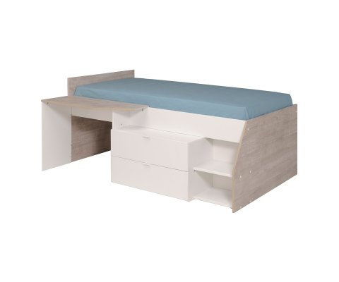 Milky Bed with 2 Drawers (Slats and Mattress Included)