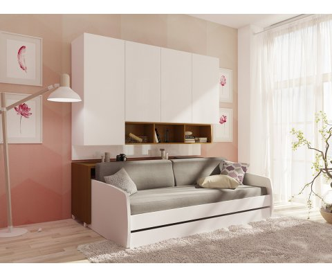 Compact Sofa and Cabinets Wall System