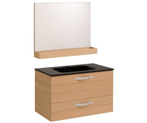 "Oslo 40"" Natural Oak Bathroom Vanity Set with Glass Sink and Wall Mirror"