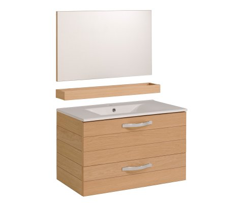 "Oslo 31"" Bathroom Vanity Set with Ceramic Sink and Wall Mirror"
