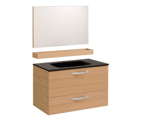 "Oslo 31"" Bathroom Vanity Set with Glass Sink and Wall Mirror"