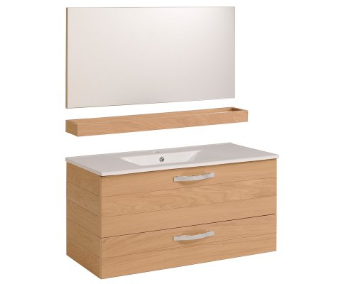 "Oslo 39"" Bathroom Vanity Set with Ceramic Sink and Wall Mirror"