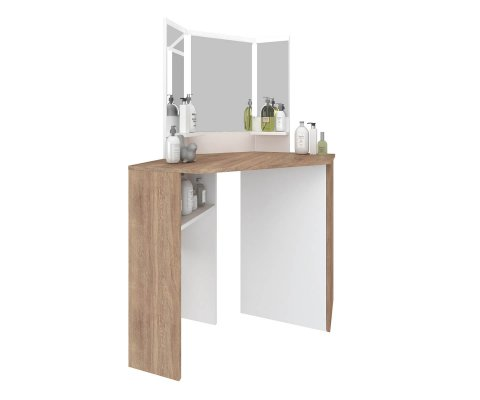 Pearl Corner Makeup Vanity with Storage and LED lights