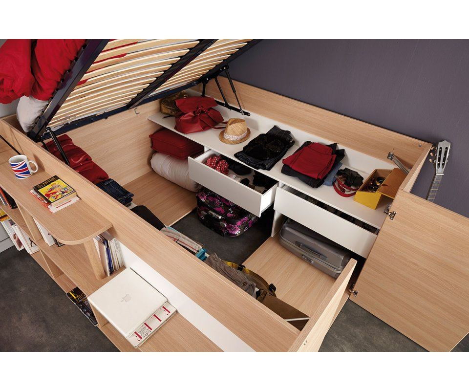 bed with under bed storage drawers