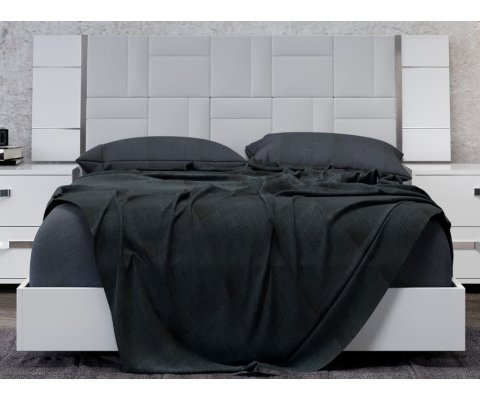 """Dream King Bed 83"""" Upholstered with Geo Ice Simil-Leather"""