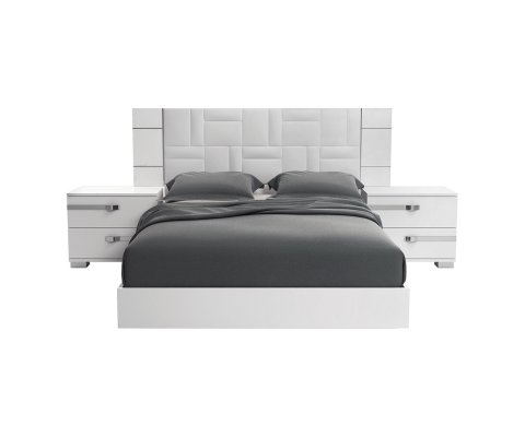 "Dream Qween Bed 83"" Upholstered with Geo Ice Simil-Leather"
