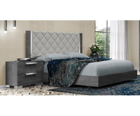 Sarah Bed Uphostred with Rhombus Ice Simil-Leather