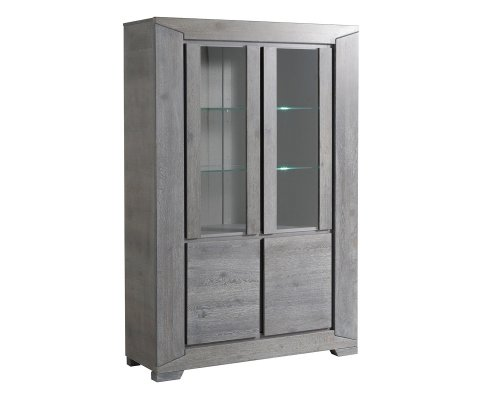 Titan Gray French Oak Glass Door Storage Cabinet