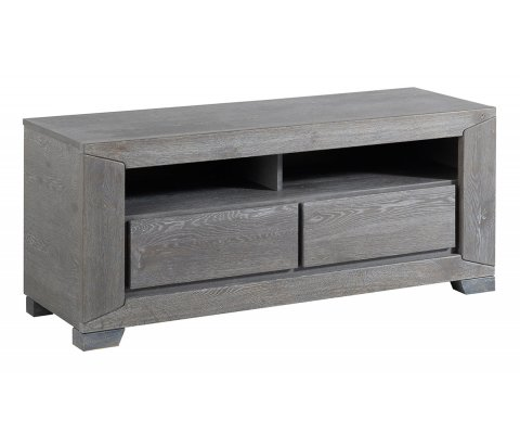 Titan Gray French Oak TV Stand / Unit with 2 Drawers and Shelves