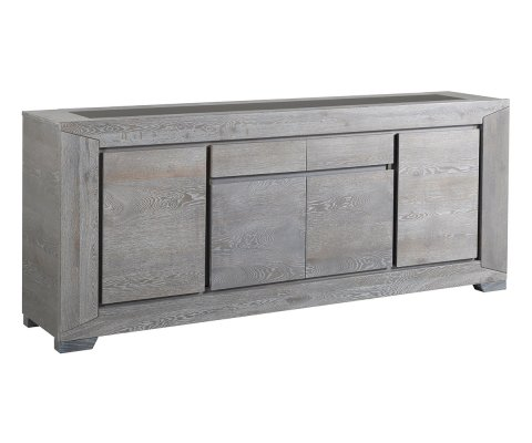 Titan Gray French Oak Sideboard with 4 Doors