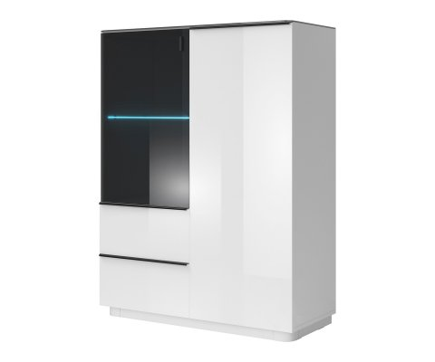 Togo White Gloss Side Cabinet with 2 Doors and 2 Drawers
