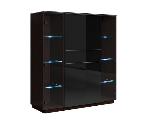 Togo Black Gloss Side Cabinet with 2 Door Glass and 1 Drawer