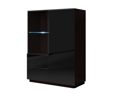 Togo Black Gloss Side Cabinet with 2 Doors and 2 Drawers